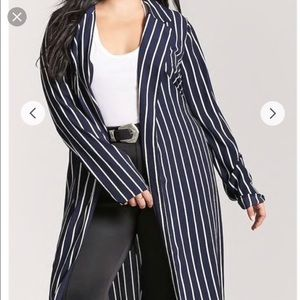 Jackets & Blazers - Forever 21 Plus Navy Stripe Cardigan Duster Jacket
